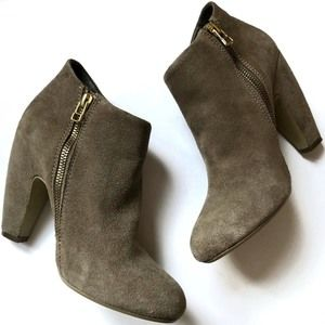 Steve Madden Taupe Heeled Boots Booties Zip Up